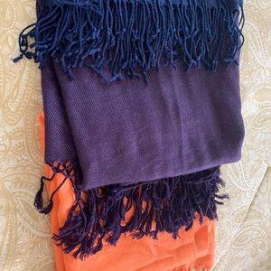 3 pasminas Orange, plum, navy blue